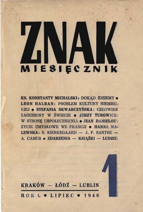 """Miesięcznik """"Znak"""" Reprint nr 1 z 1946 roku"""